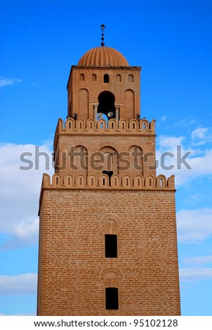 Great Mosque of Kairouan, Tunisia is the fourth most sacred place of islam - stock photo