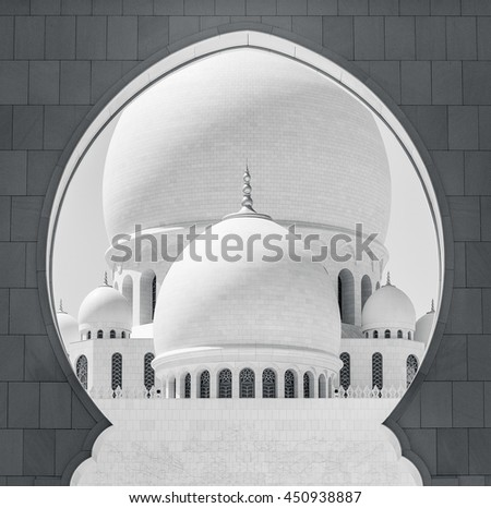 Great mosque of marble in Abu Dhabi, United Arab Emirates