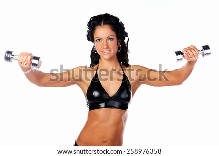 Great muscular female with dumbbell isolated on white - stock photo