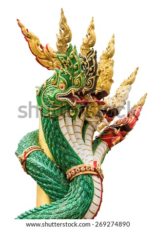 Great Naga serpent in an ancient temple of Thailand in isolated background  - stock photo