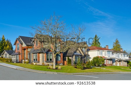 Great neighborhood. Homes of the North America. Canada. - stock photo
