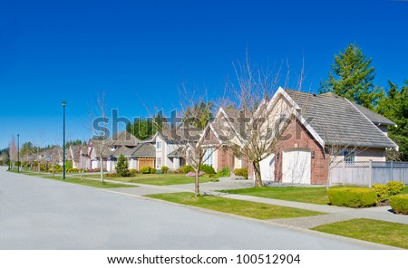 Great neighborhood in the suburbs of North America. - stock photo