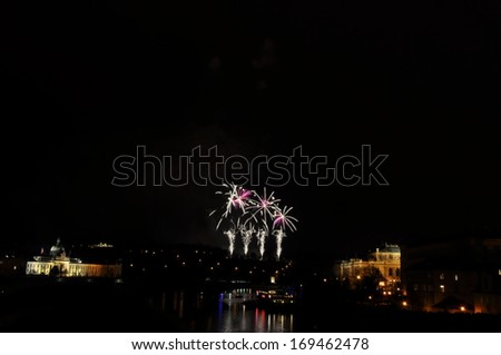 Great New Year day 2014 Firework in Prag