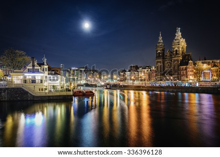 Great night atmosphere of Amsterdam.