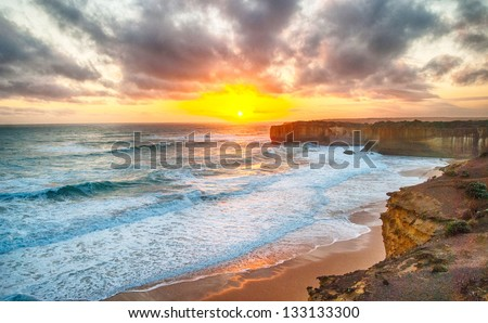 Great Ocean Road scenic - High Dynamic Range - stock photo