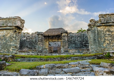 Great Palace of maya city called Tulum situated on the Yucatan, Mexico - stock photo