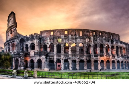 Great panoramic view Colosseum on sunrise, Rome, Italy, Europe - stock photo