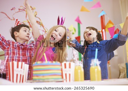 Great party on ninth birthday  - stock photo