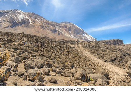 Great Penck and Little Penck Glaciers on the Kibo cone, Shira Plateau, Machame-Mweka Route, Kilimanjaro National Park, near Arusha, Tanzania, Africa - stock photo