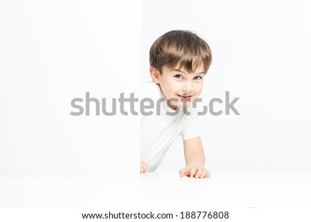 Great positive expression from preschooler kid all white - stock photo