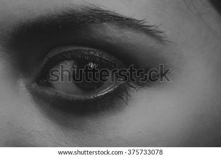 Great professional make-up eyes. Glitter, eye shadow, highlighter, eyeliner. Eye of girl close-up. - stock photo