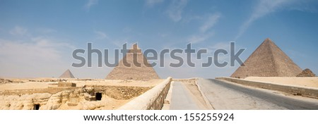 Great pyramids in Giza valley, Cairo, Egypt - stock photo