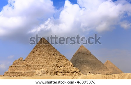 Great Pyramids, located in Giza, the pyramid of Pharaoh Khufu, Khafre and Menkaure.  Egypt. Panorama