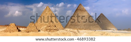 Great Pyramids, located in Giza, the pyramid of Pharaoh Khufu, Khafre and Menkaure.  Egypt. Panorama - stock photo