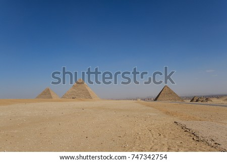 Great pyramids of Egypt from the valley of Giza