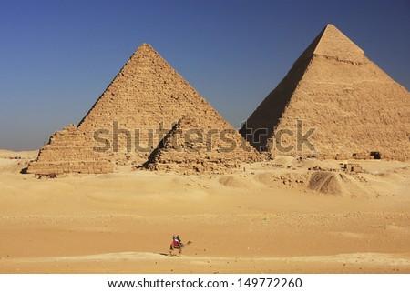 Great Pyramids of Giza, Cairo, Egypt - stock photo