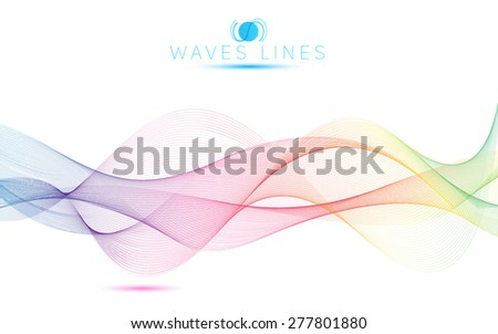 great rainbow waves colorful gradient light blend line bright abstract - stock photo