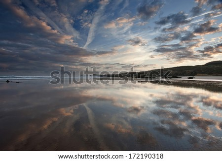 Great reflection on beach - stock photo