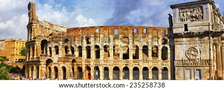 great Rome, panoramic view with Colosseo - stock photo
