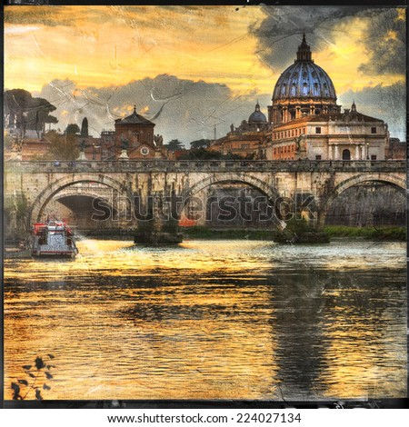 great Rome - vintage cards series - stock photo