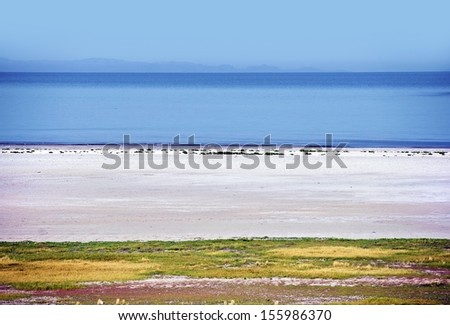 Great Salt Lake Scenery. Great Salt Lake Landscape in Utah State, USA. Scenic Places Photo Collection. - stock photo