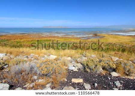 Great Salt Lake State Park in northern Utah - stock photo