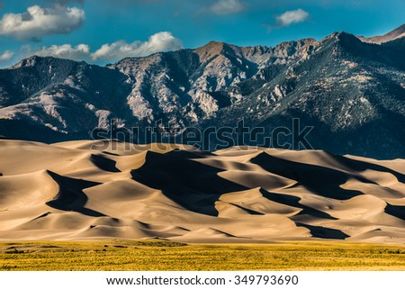 Great Sand Dunes National Park Colorado at Sunset  - stock photo