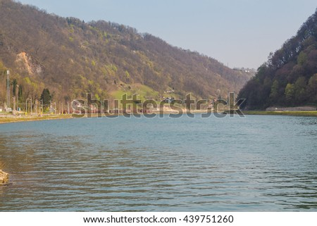 Great Sava river flows between hills not far from Krsko city, Slovenia.