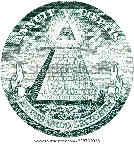 Great Seal of United States from reverse of one dollar bill. Isolated over white. - stock photo