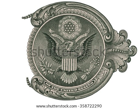 Great seal, US one dollar bill fragment, united states money closeup macro - stock photo
