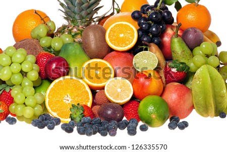 Great selection of many different exotic fruits isolated on white background