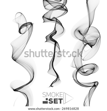 great set of circle smoke black waves abstract background for design - stock photo