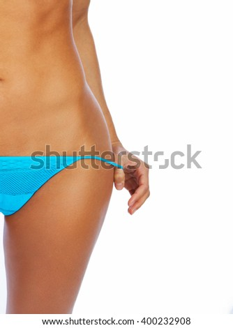 Great sexy body of young athletic woman. - stock photo