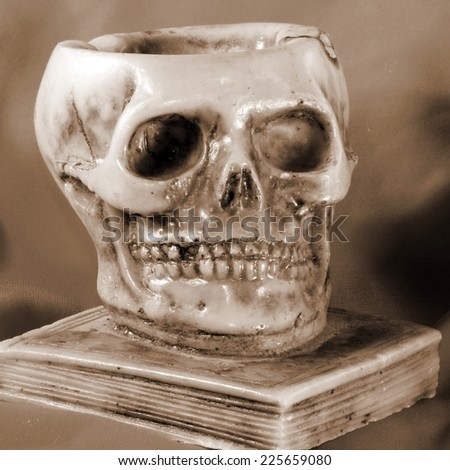 great skull above an ancient book and orange background