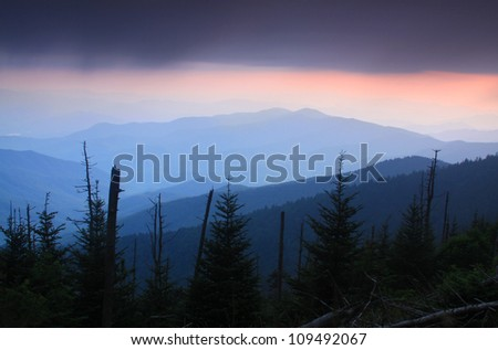Great Smoky Mountain National Park at sunset.