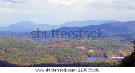 Great Smoky Mountains and Indian Boundary Lake from Cherohala Skyway, a National Scenic Byway - stock photo