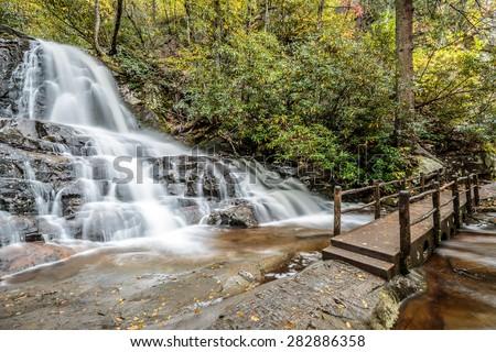 Great Smoky Mountains National Park - Laurel Falls  - Gatlinburg Pigeon Forge TN - stock photo