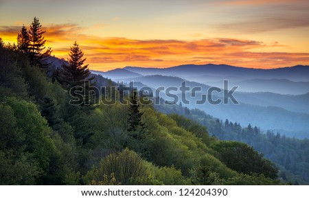 Great Smoky Mountains National Park Scenic Sunrise Landscape at Oconaluftee Overlook between Cherokee NC and Gatlinburg TN