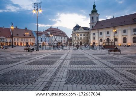 Great Square in Sibiu, Romania - stock photo