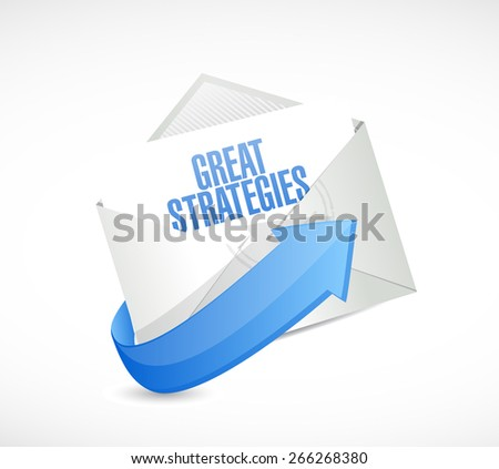 great strategies envelope mail sign illustration design over a white background - stock photo