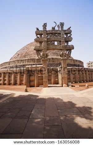 Great Stupa built by Ashoka the Great at Sanchi, Madhya Pradesh, India - stock photo