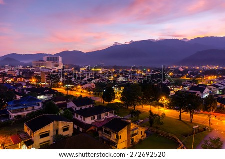 great sunrise and vibrant color during twilight time - stock photo