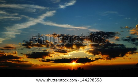Great sunset in Quebec City - stock photo