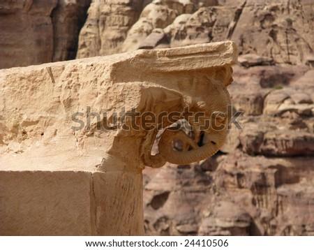 Great temple in Petra, Jordan - stock photo