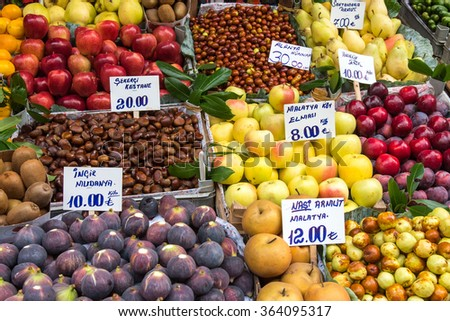 Great variety of fruits at a market in Istanbul