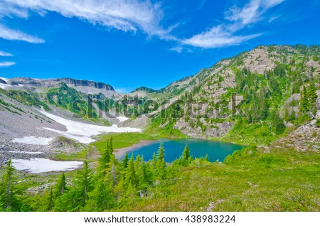 Great view at Mount Baker lands and wilderness with Bagley lake. North America. - stock photo