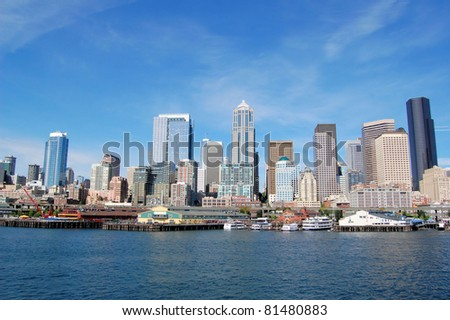 Great View of Downtown Seattle and Waterfront in a Beautiful Clear Day