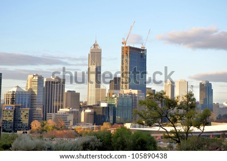 Great View of Perth Financial District at Sunset