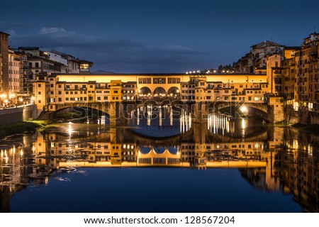 Great View of Ponte Vecchio at night. Firenze, Italy. - stock photo