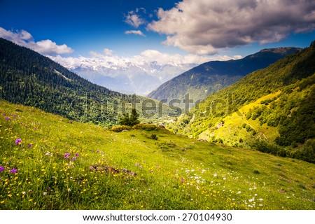 Great view of the alpine meadows with blue sky at the foot of Mt. Ushba. Dramatic unusual scene. Upper Svaneti, Georgia, Europe. The main Caucasian ridge. Beauty world. - stock photo